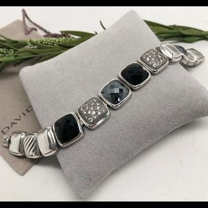 David Yurman Diamond Onyx Hematite  Bracelet